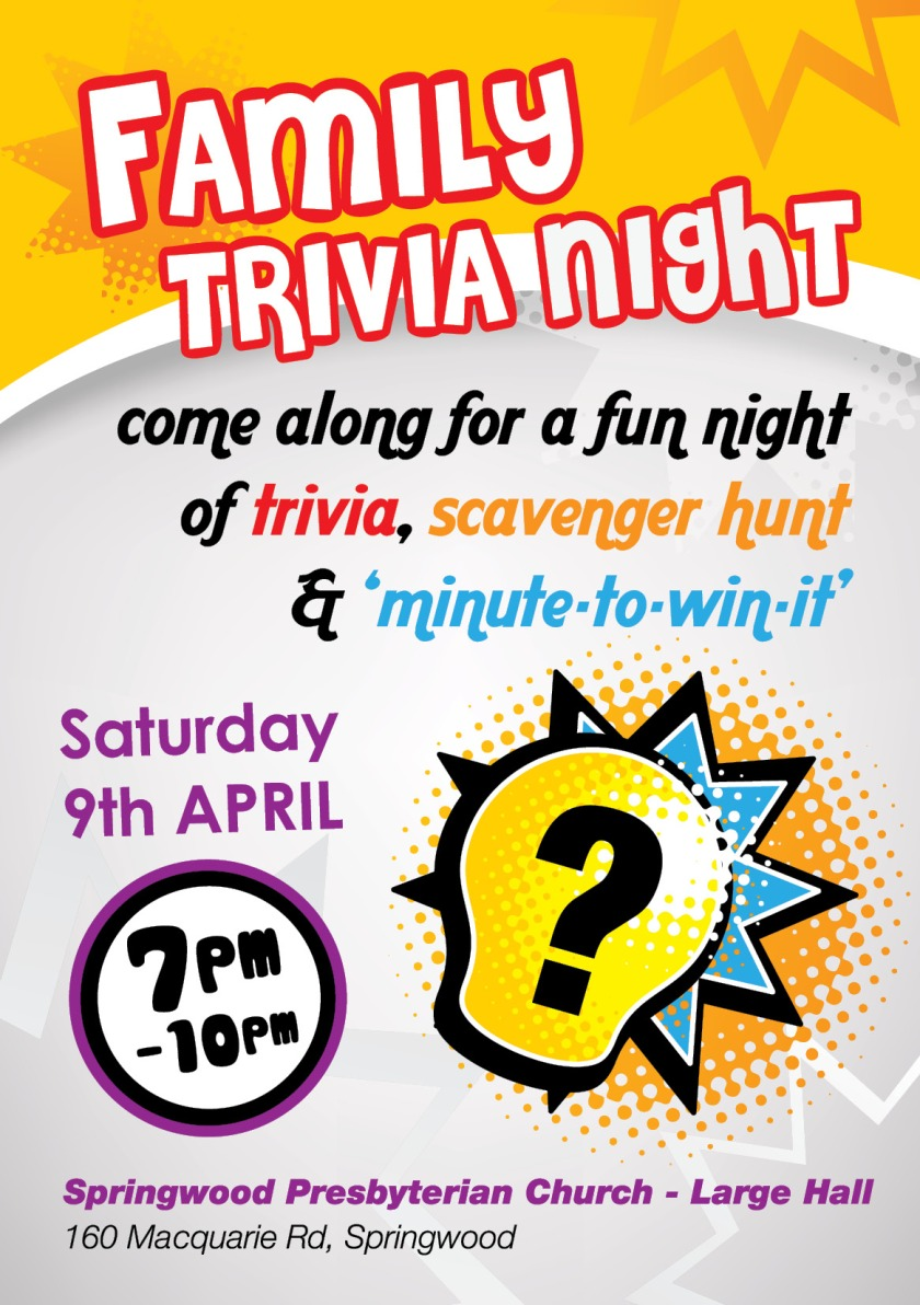 Flyer for Family Trivia Night