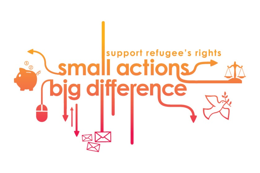 Oxfam 'Small Actions, Big Difference' refugees postcard